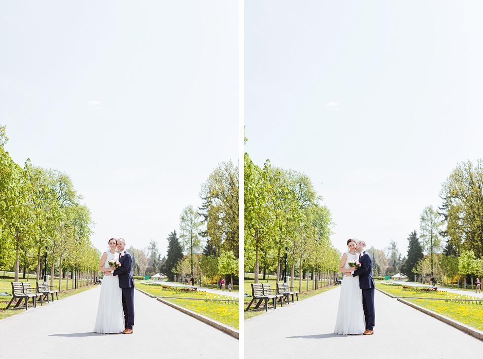 Barbora a Michal ve Smetanových sadech na chodníku v parku