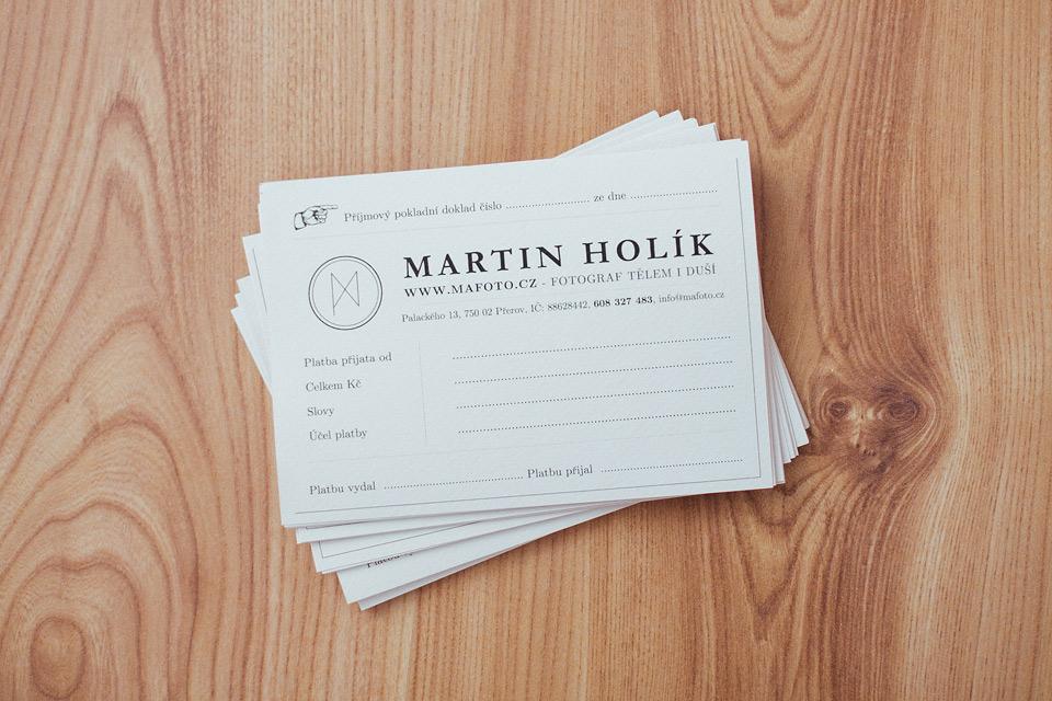 Příjmový doklad svatebního fotografa Martina Holíka