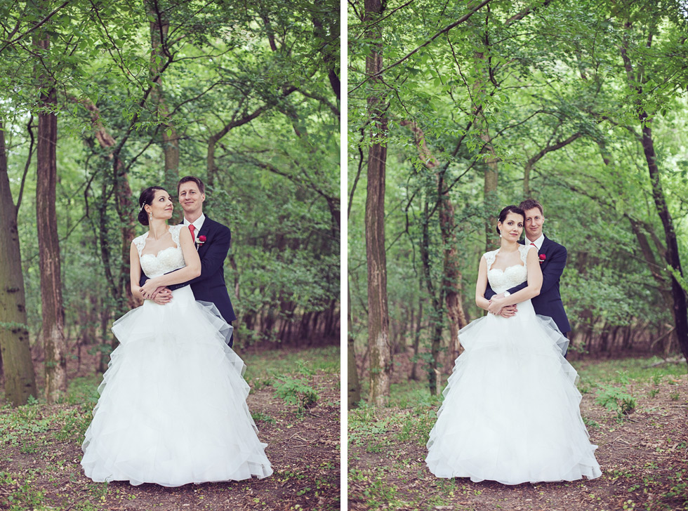 Portrét nevěsty a ženicha v lese