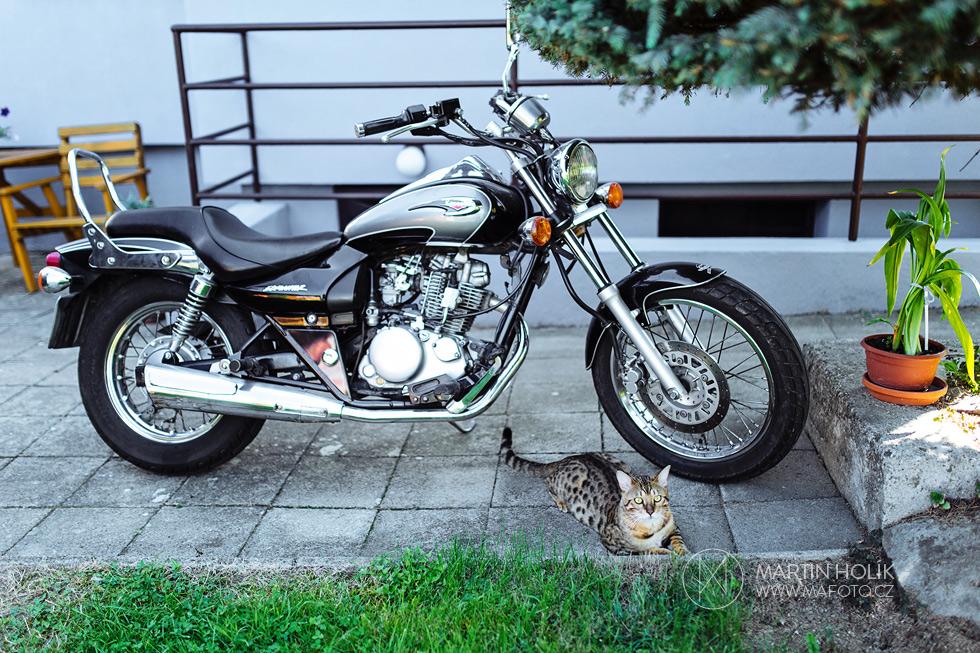 Motorka a pan mladý kocour
