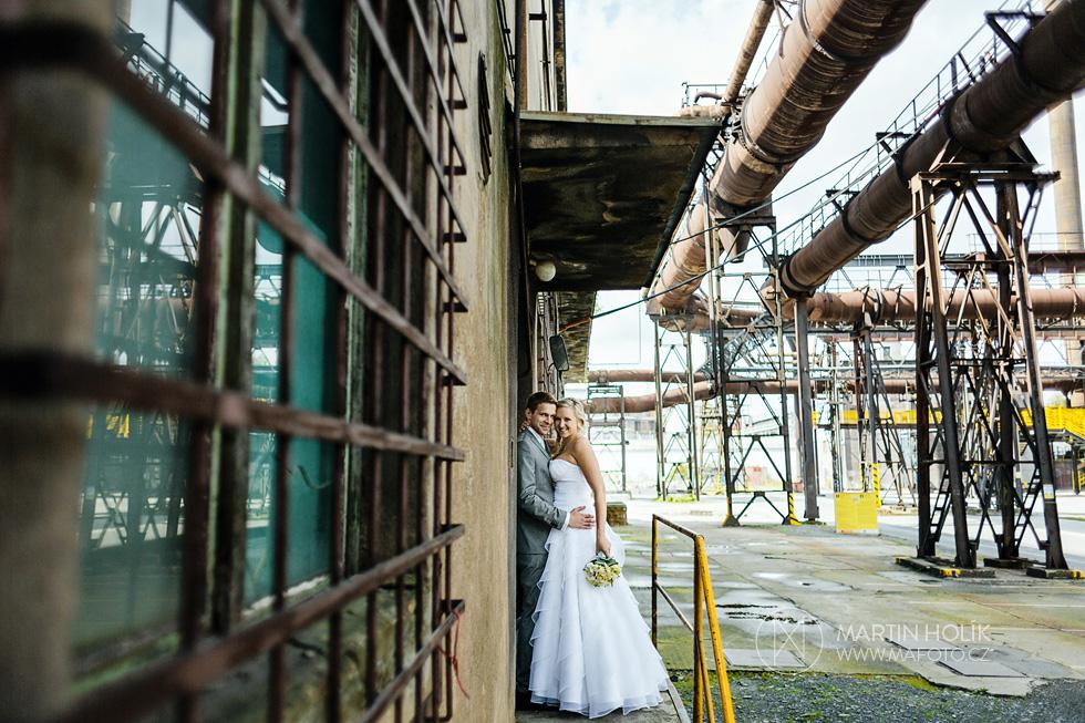 Nevěsta a ženich na rampě