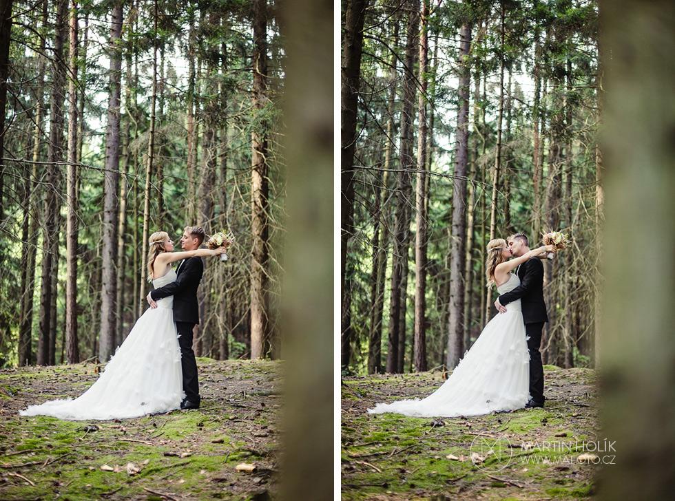 Portrét novomanželů v lese