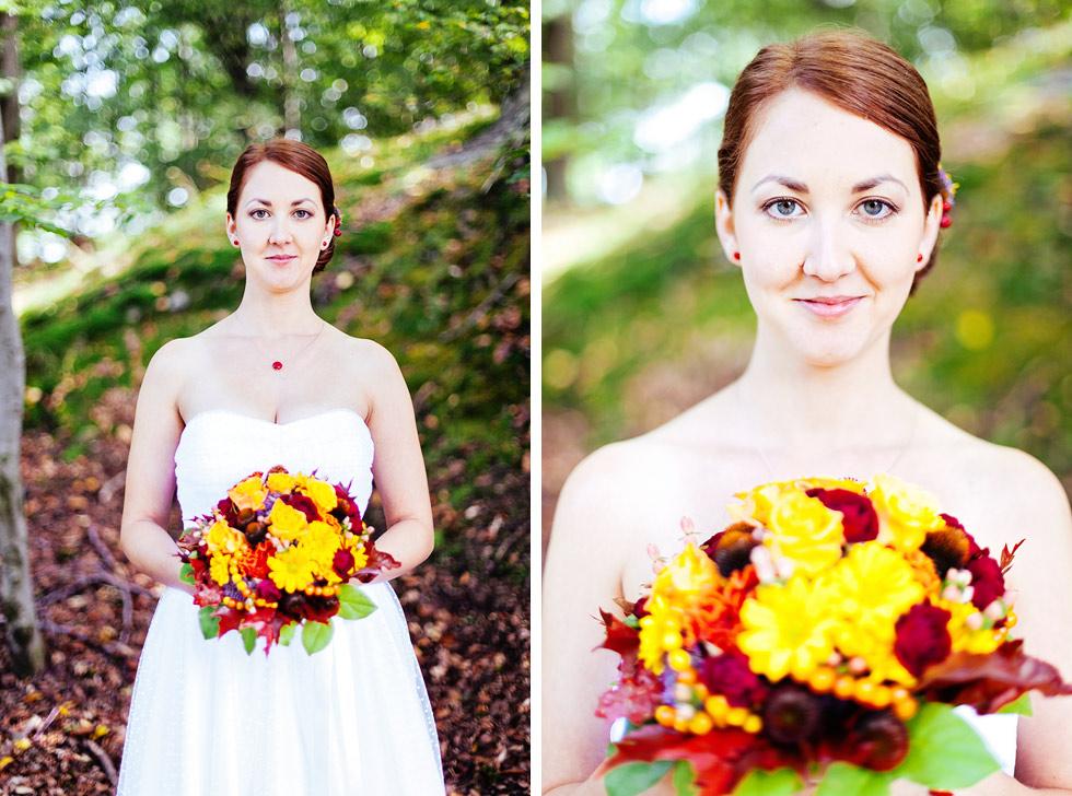 Portrét přenádherné nevěsty v lese