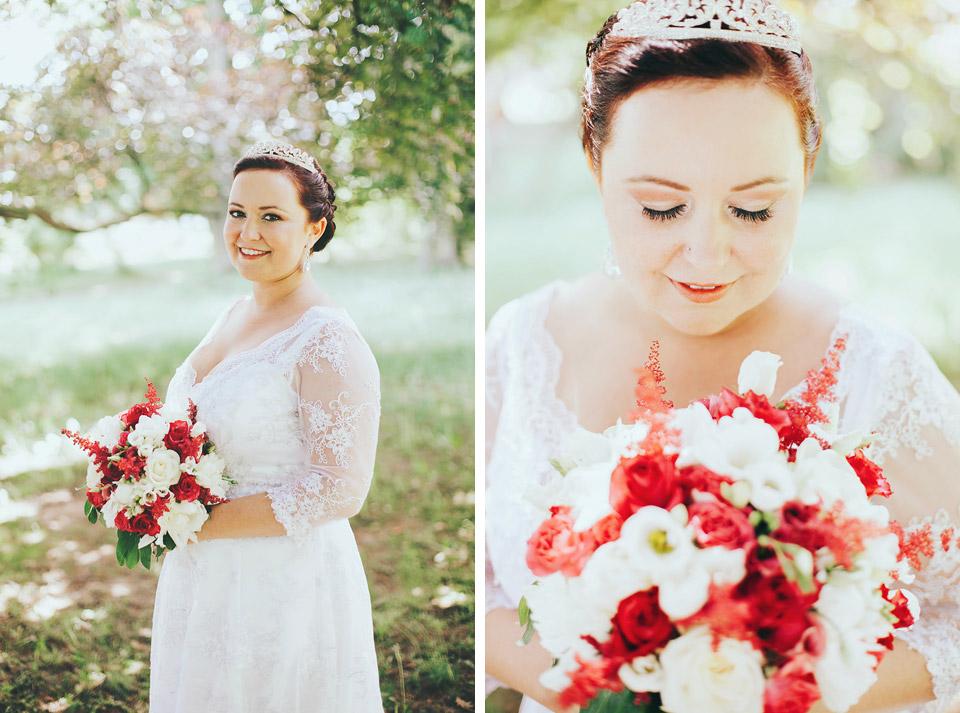 Fotografický portrét krásné nevěsty v parku