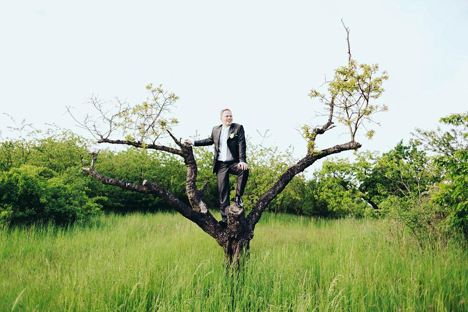 Ženich vyhlíží na stromě nové zítřky