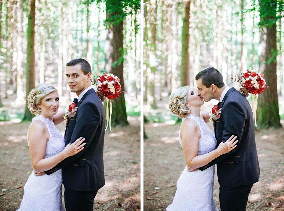 Dvojportrét ženicha a nevěsty v lese