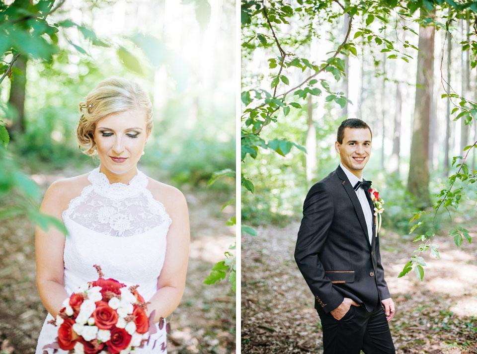 Dvojportrét ženicha a nevěsty v lesíku