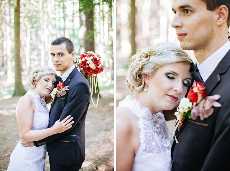 Nevěsta a romantická fotografie ženicha