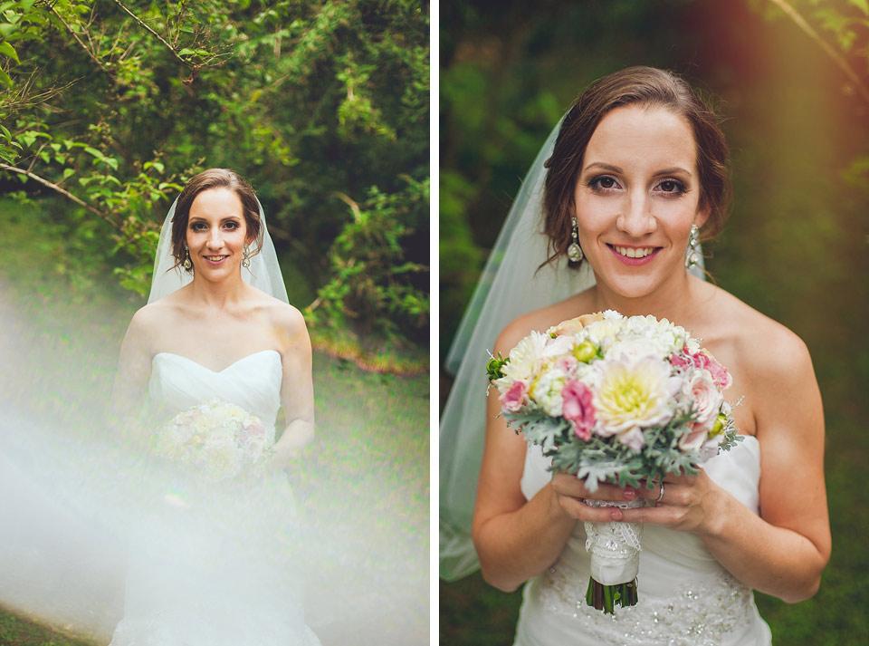 svatební portrét nevěsty v parku