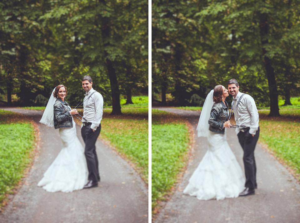 tilt shift portrét nevěsty a ženicha v parku