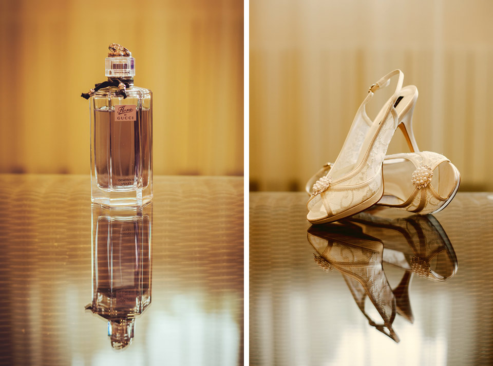 Svatební střevíce a parfém nevěsty na svatební fotografii
