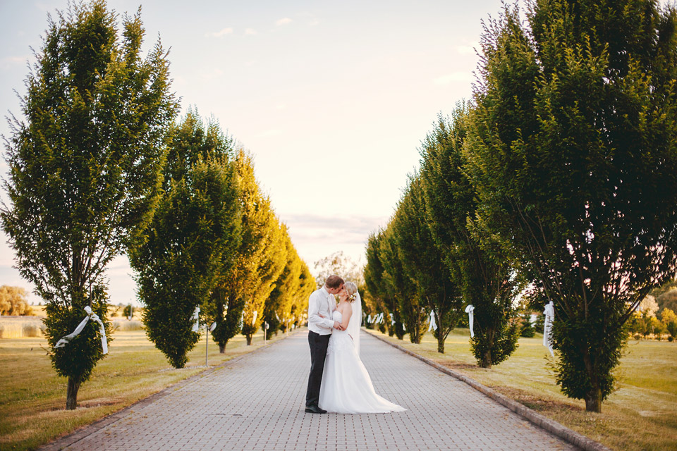 Políbení nevěsty a ženicha na příjezdové cestě