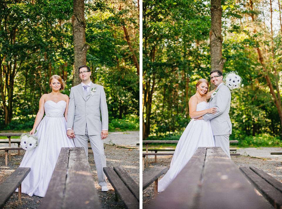 Dvojitý stolečkový portrét nevěsty a ženicha