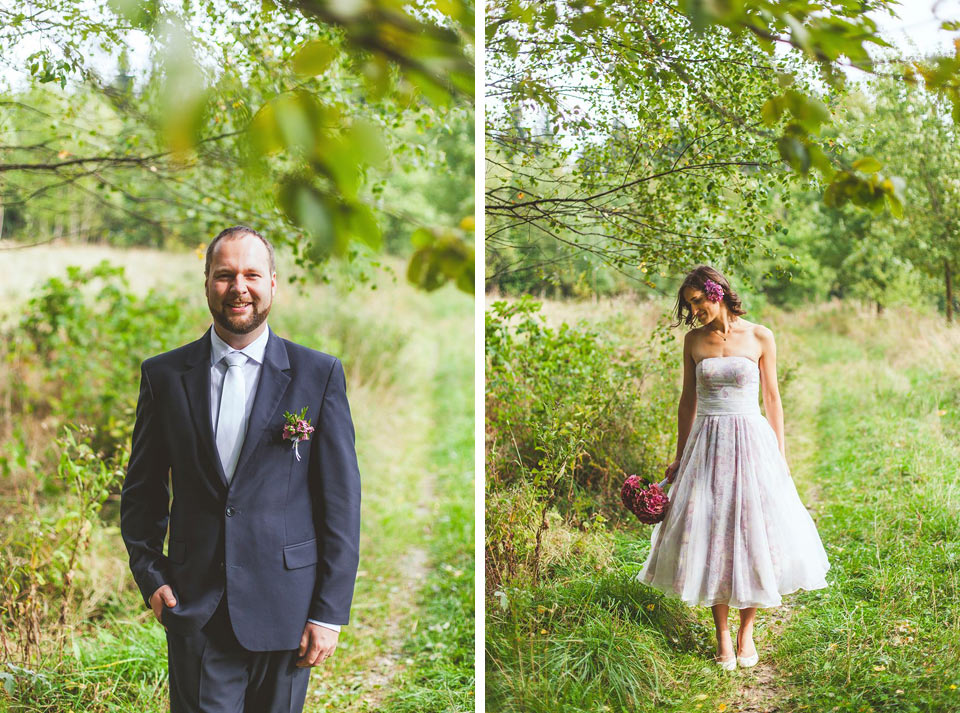 Epické portréty nevěsty a ženicha na lesní cestě