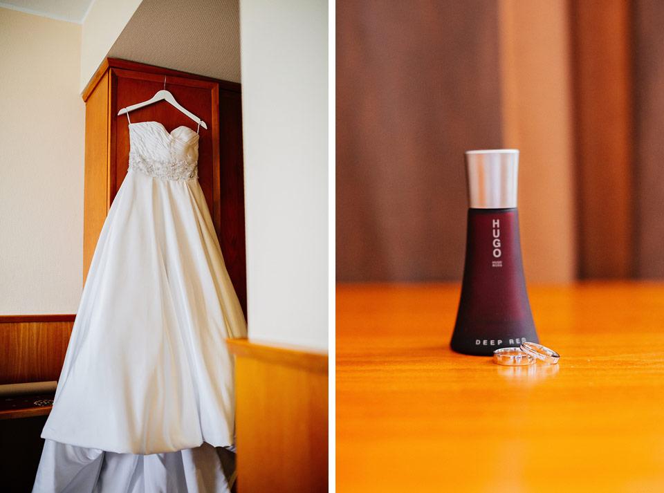 Svatební šaty a prstýnky
