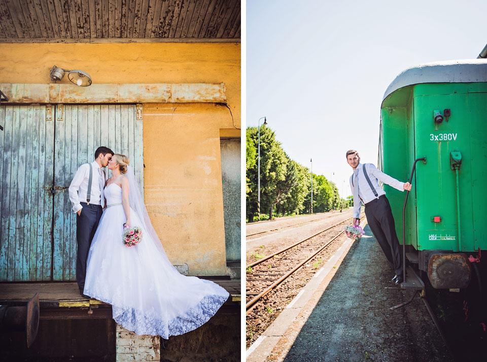 Mutěnické nádraží a portrét nevěsty a ženicha