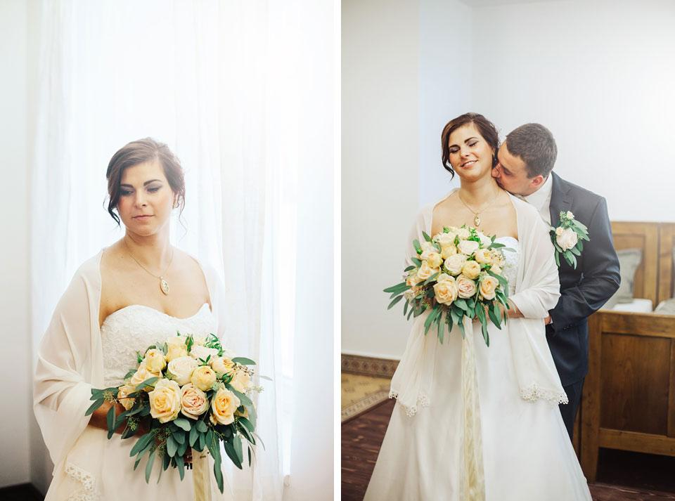 Portrét nevěsty a ženicha v pokoji