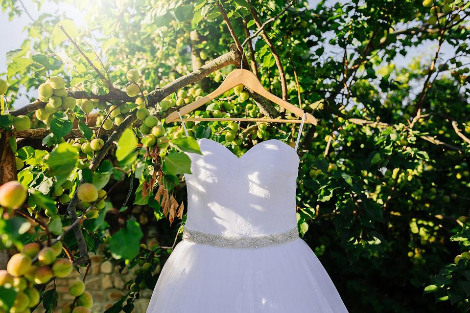 Svatební šaty vyfocené pod krásnou meruňkou