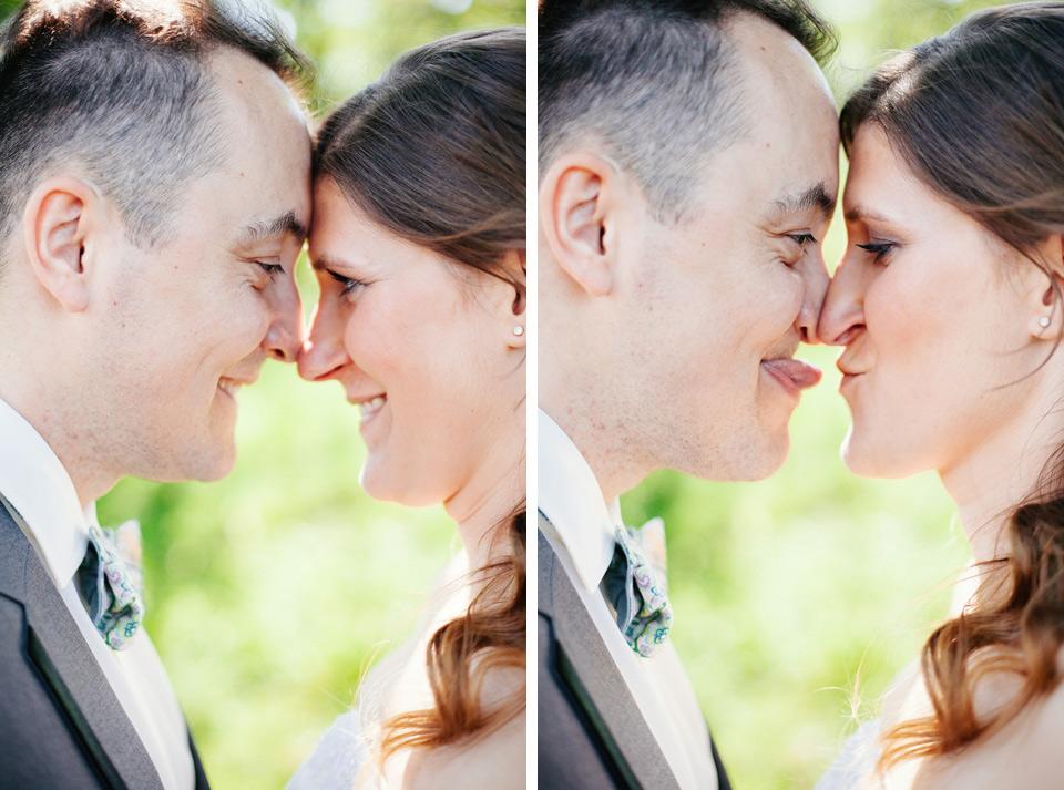 Vtipný portrét nevěsty a ženicha